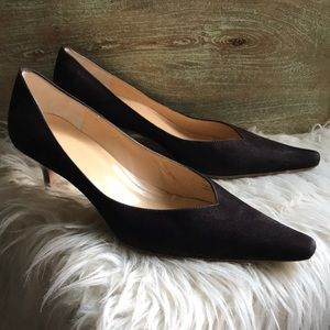 J Crew Leather Suede Pumps Heels Italy Chocolate